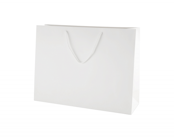 White Matt Boutique Paper Carrier Bags with Rope Handles (Large) 40cm wide