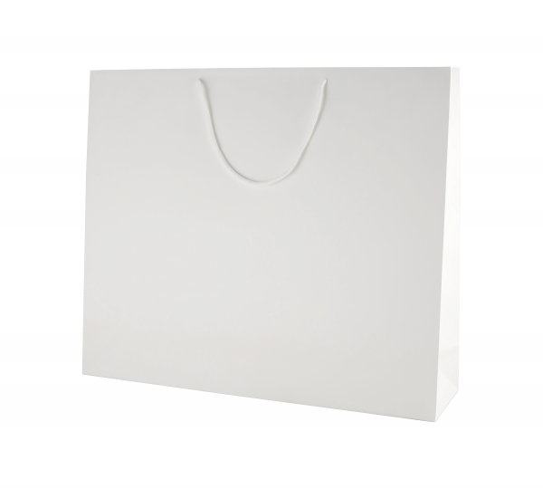 White Matt Boutique Paper Carrier Bags with Rope Handles (XL) 50cm wide
