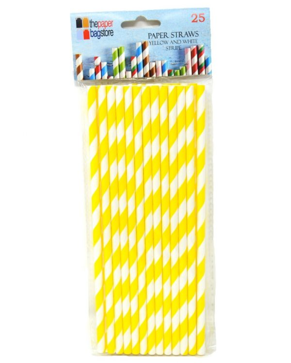 Paper Straw Yellow and White Stripe