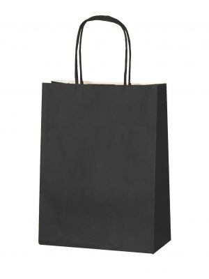 Black small paper gift bag with handle