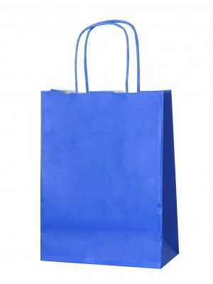 Blue small paper gift bag with handle