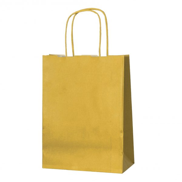 Gold small paper gift bag with handle