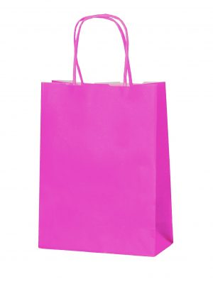 Hot Pink small paper gift bag with handle