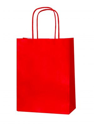 Red small paper gift bag with handle