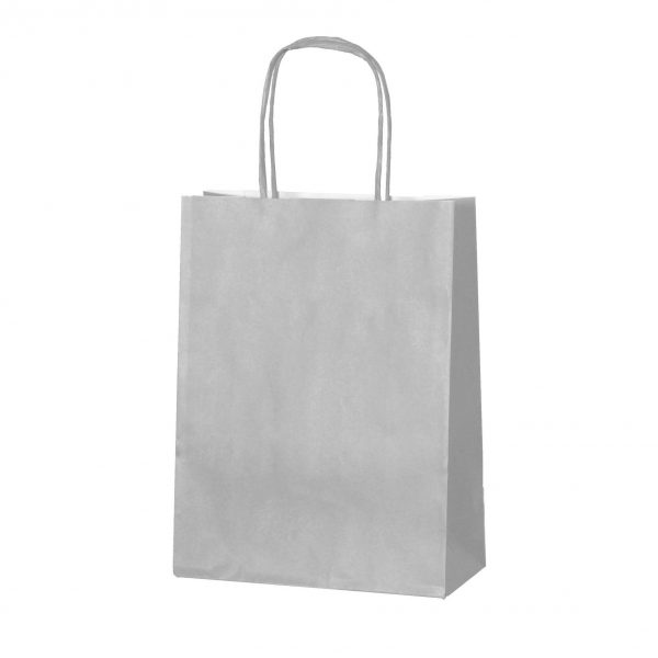Silver small paper gift bag with handle