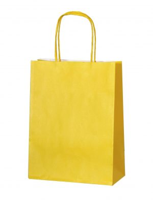 Yellow small paper gift bag with handle