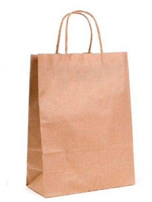 Brown ribbed small paper gift bag with handle